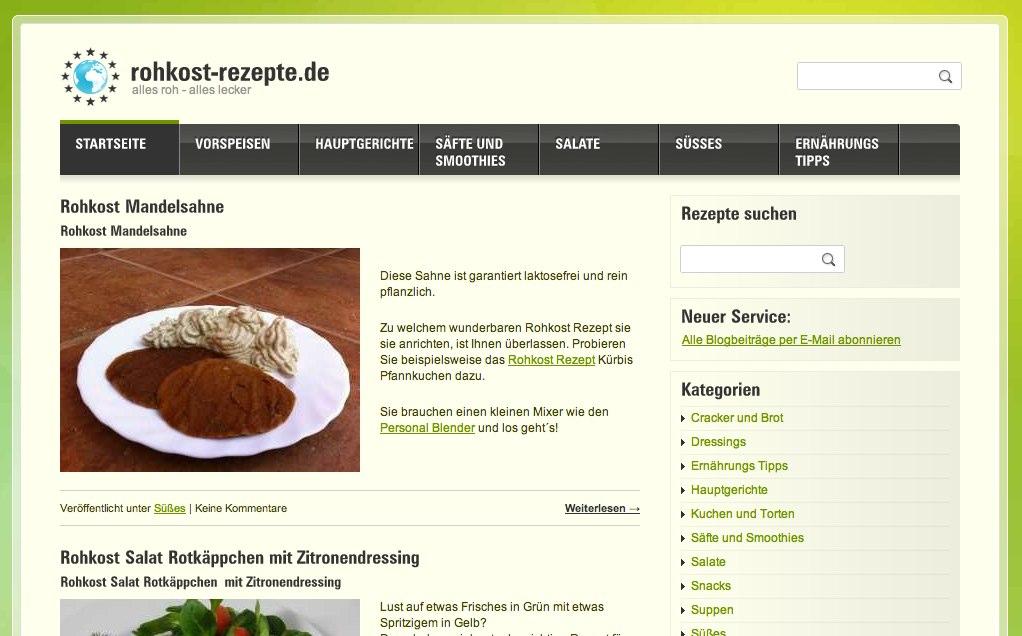 Rohkost Rezepte bei www.rohkost-rezepte.de