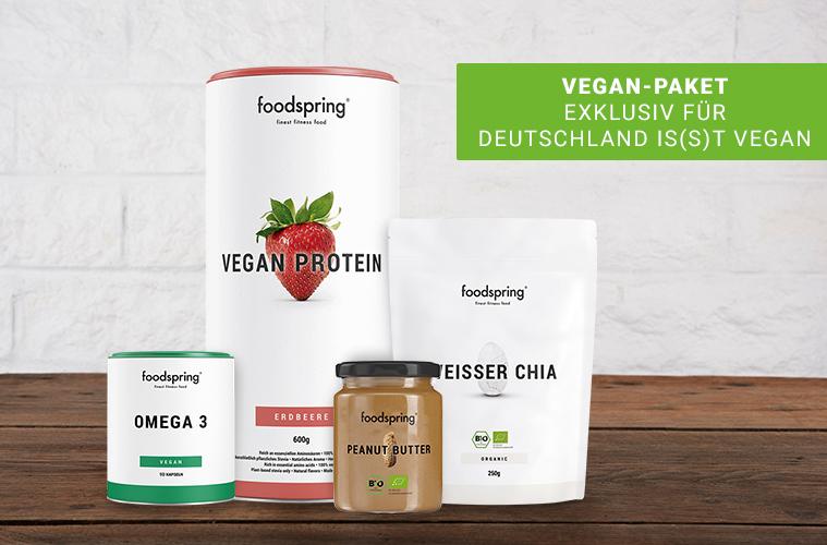 foodpspring Vegan Paket: Omega-3, Vegan Protein Erdbeere, Peanut Butter, Weißer Chia