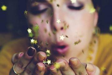Mädchen Glitzer Sterne