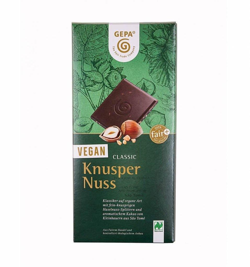 Vegane Schokolade mit Nuss von Gepa