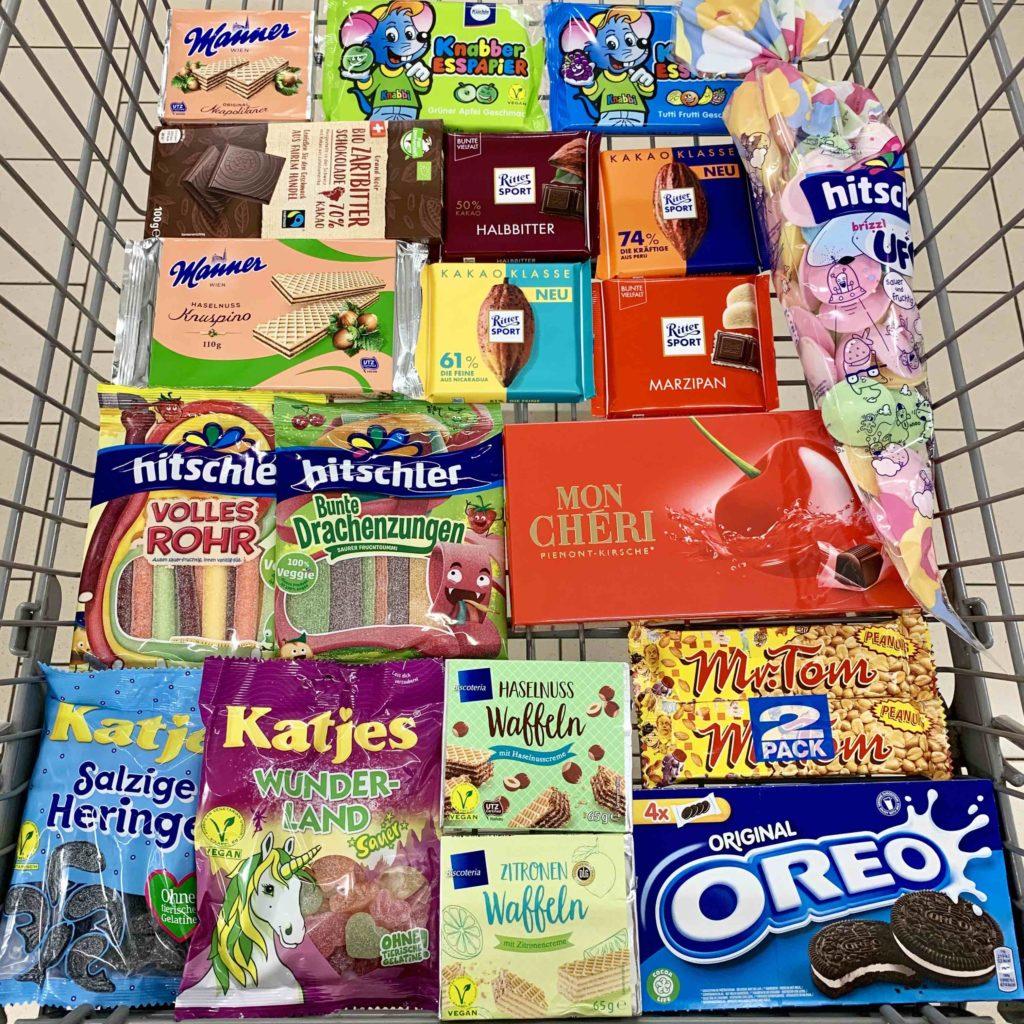 Vegan einkaufen Supermarkt süssigkeiten netto