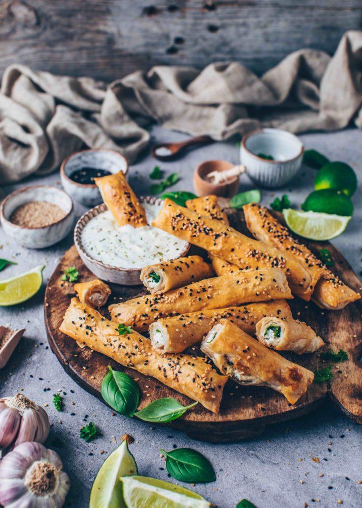 Vegan Foodporn börek mit Spinat und Feta