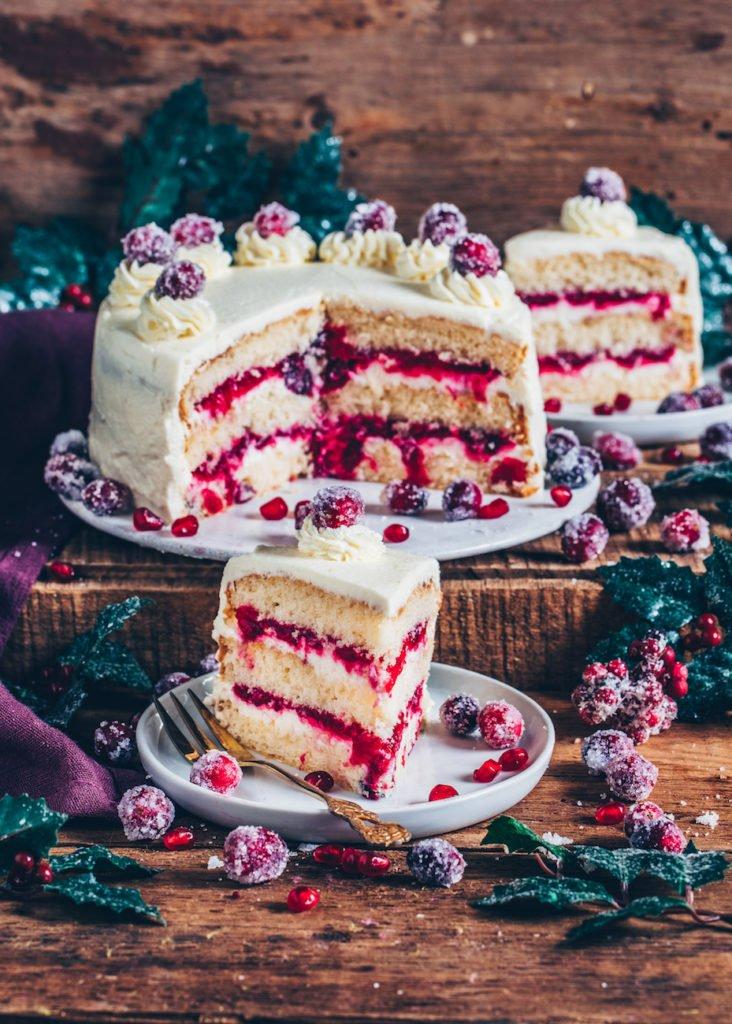 veganes Weihnachtsmenü Cranberry-Torte als Dessert