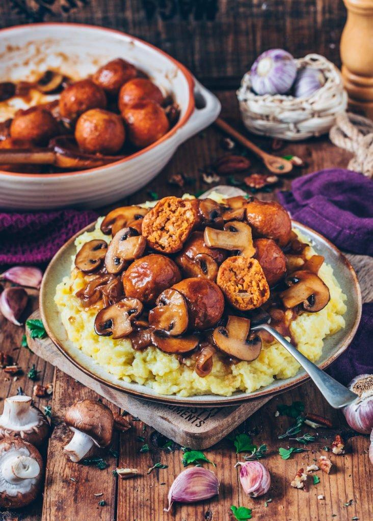 Vegane Kichererbsen Bällchen Kartoffelpüree veganes Weihnachtsmenü