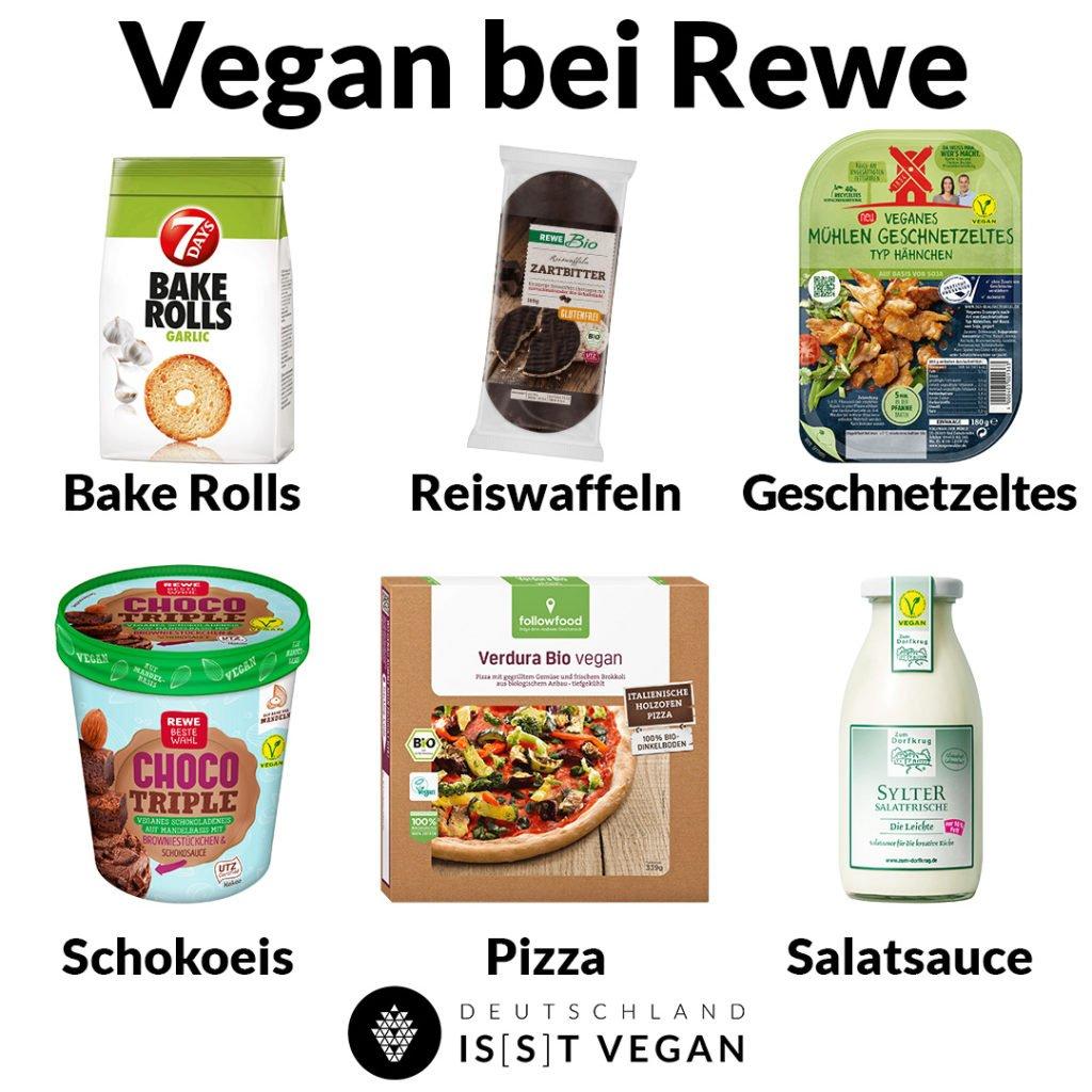 Vegane Lebensmittel aus dem Supermarkt Vegan im Rewe
