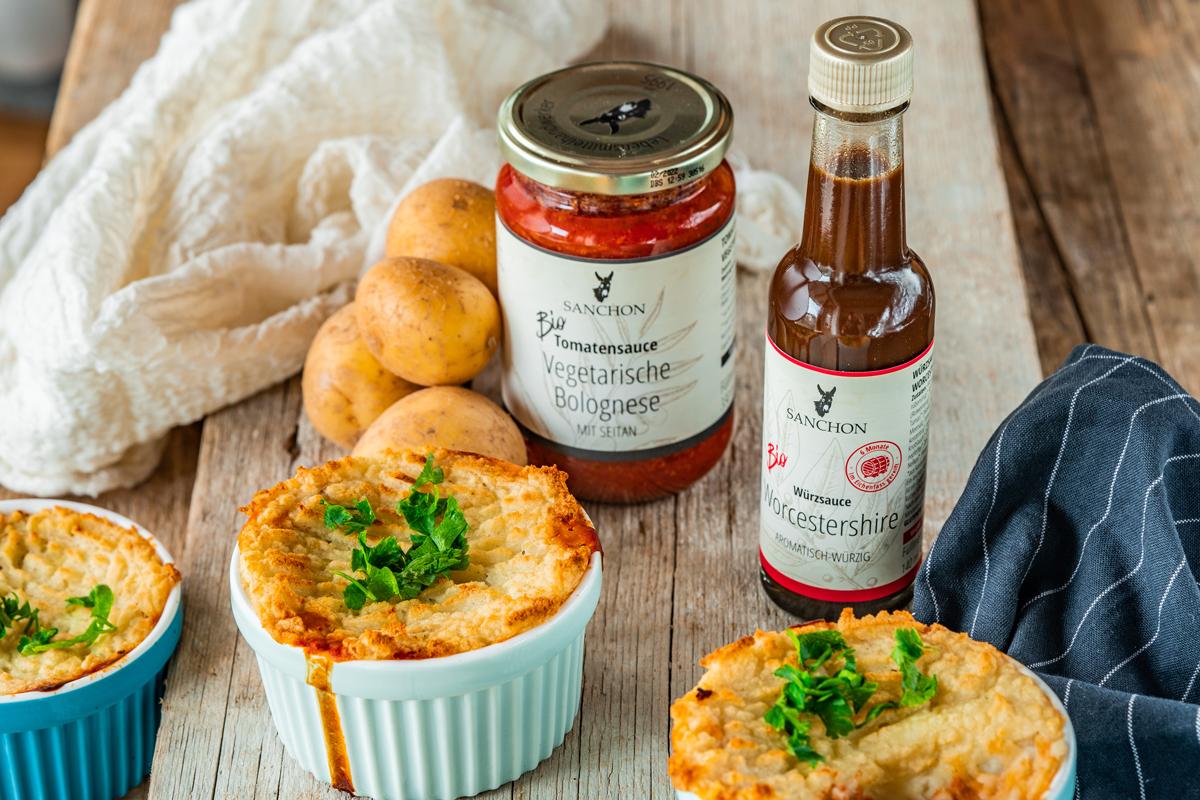 Veganer Shepherd`s Pie mit Saucen von Sanchon