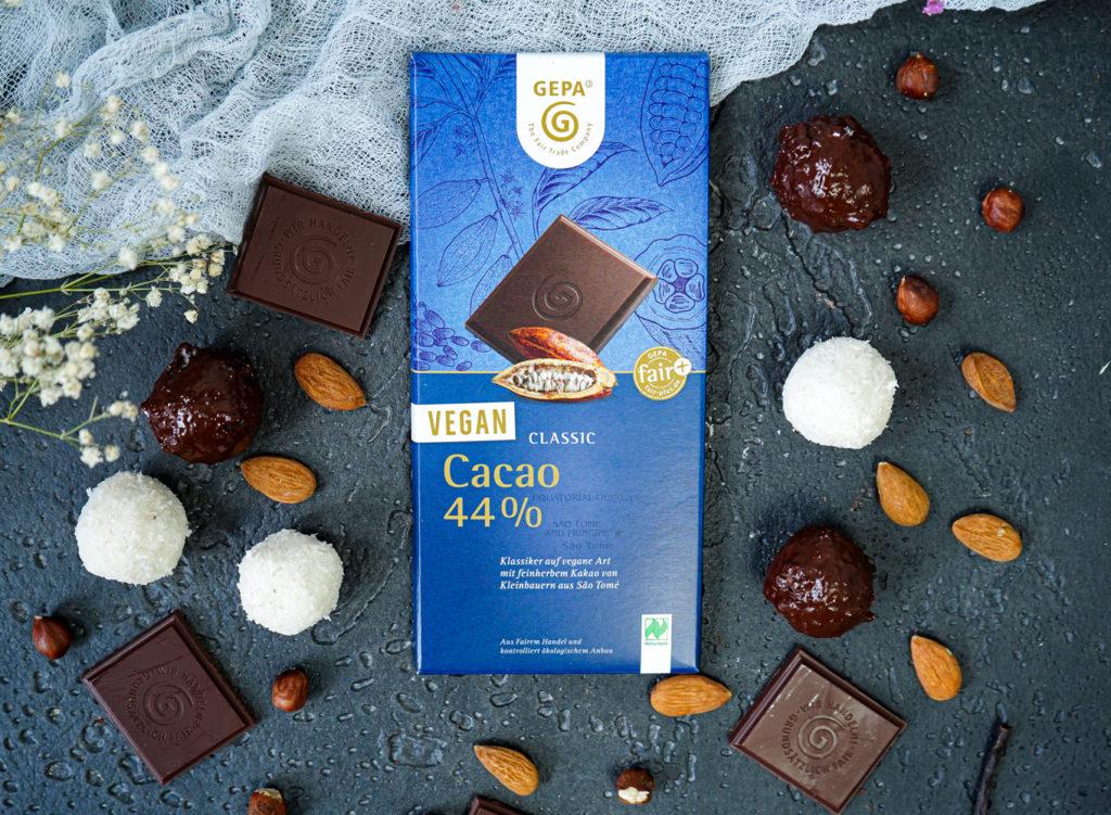 vegane schokolade mit fairgehandeltem kakao