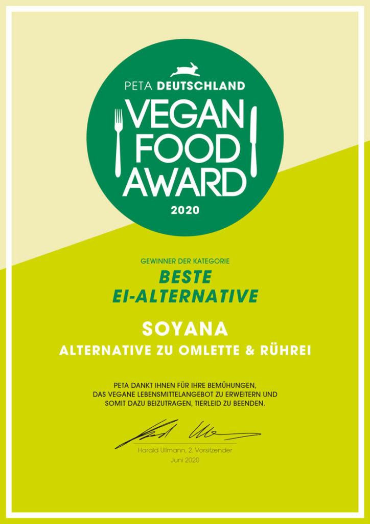 vegan food award 2020 für vegane ei-alternative von soyana