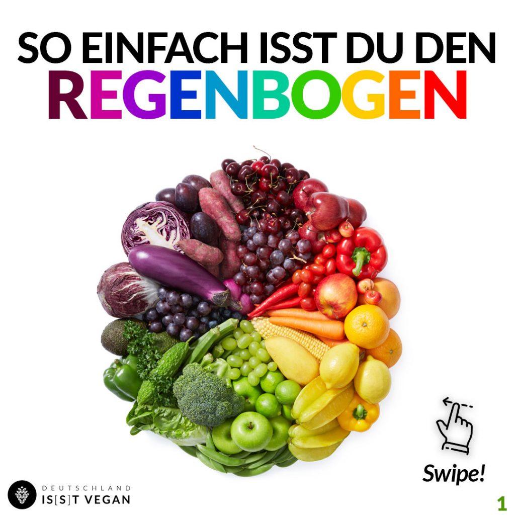 Essen nach dem Regenbogenprinzip vegan